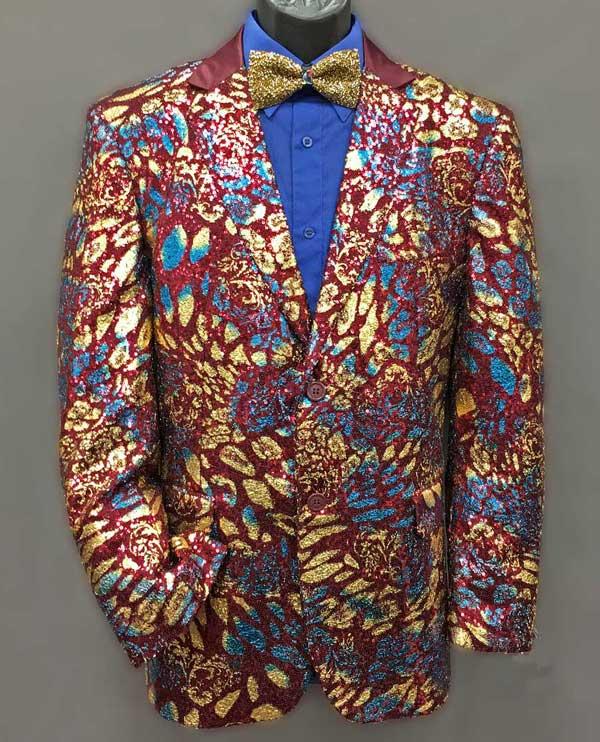 Men In Style Orlando Formal Jacket - Burgundy & Gold