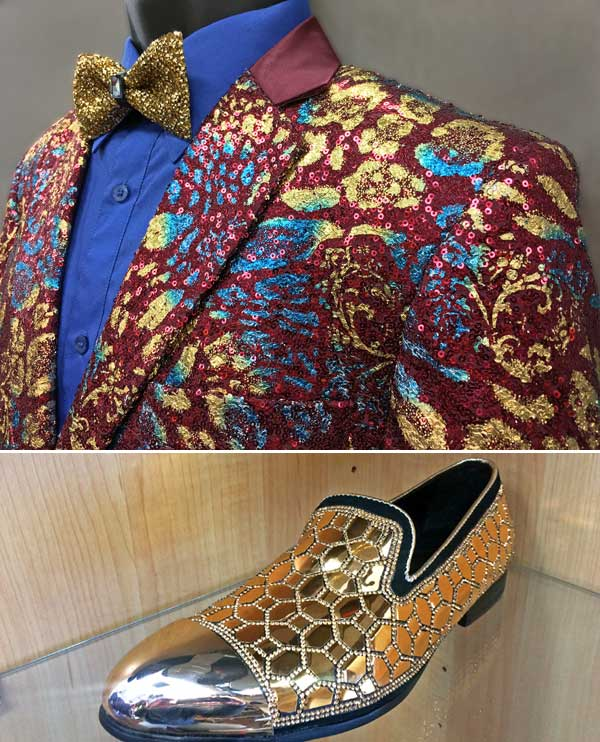 Men In Style Orlando Formal Jacket & Shoe - Burgundy & Gold