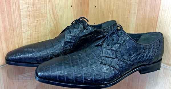 Men's Dress Oxfords Black Crocodile (caiman belly) Exotic leather