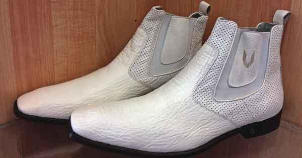 Men's Vestigium White Genuine Sharkskin Chelsea Boots Handcrafted
