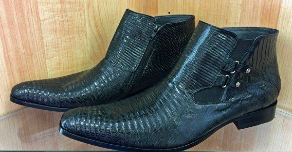 Men's Black Lizard (Teju) Exotic leather Half boot Chelsea boot