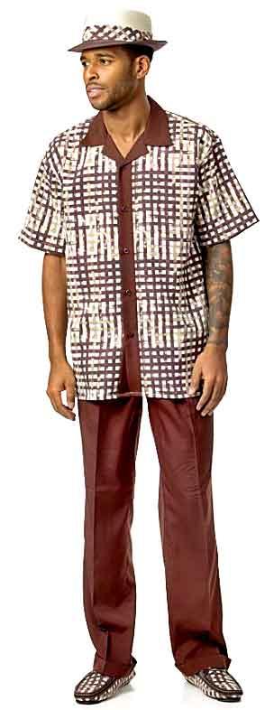 Men's Leisure Suit (Pant Set) - burgundy