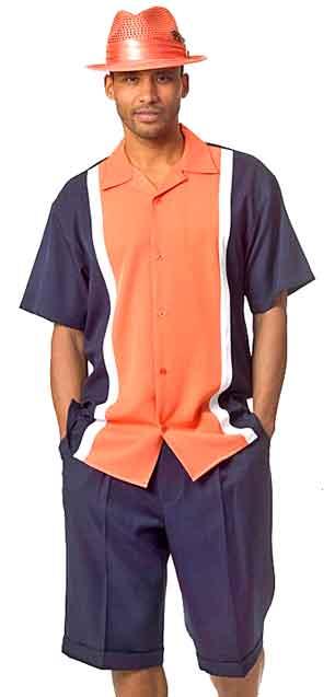 Men's Shorts Set - blue-orange