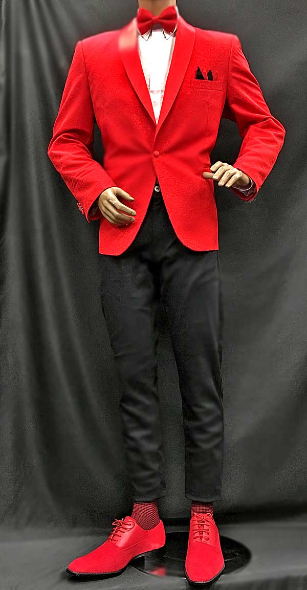 Men In Style Orlando Red Jacket with matching socks and shoes